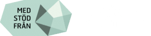 """Arvsfonden logotyp med texten """"Med stöd från arvsfonden"""" intill en symbol likt en diamant."""